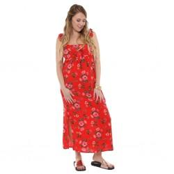 Vestido largo rayon floreado Que Sera