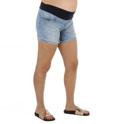 Short jean celeste con ruedo deflecado Qué Será