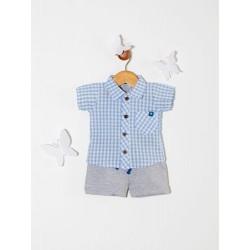Conjunto camisa cuadrille y short bebé Premium