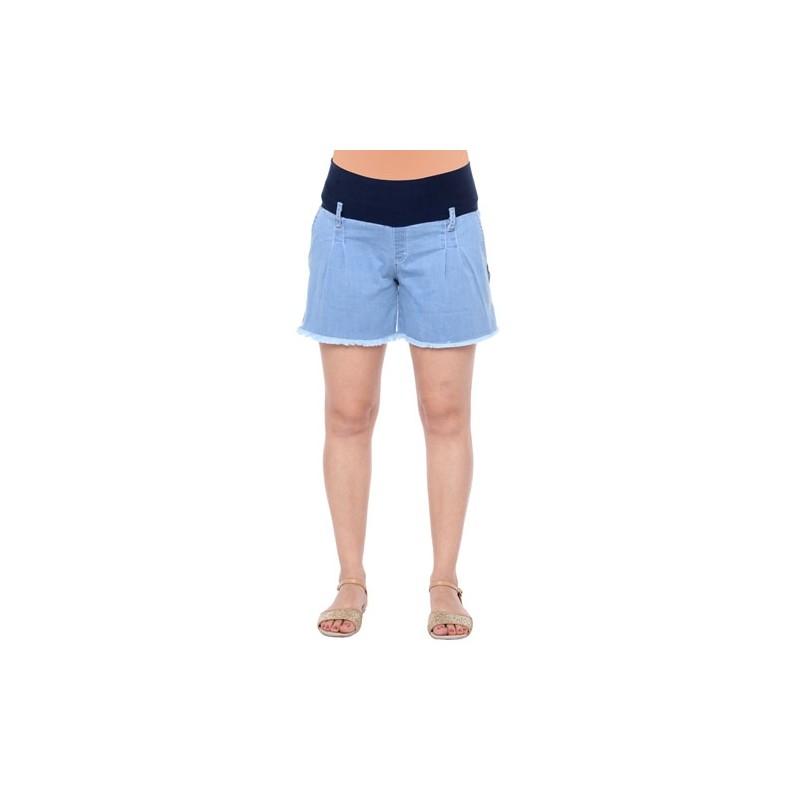 Short de jean con pinzas y flecos Qué Será