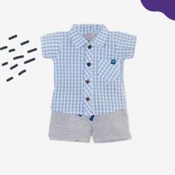 Conjunto camisa cuadrille y short bebe Premium