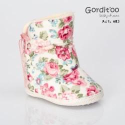Bota caña alta floreada beba Gorditoo