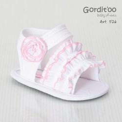Sandalia blanca con volado rosa beba Gorditoo
